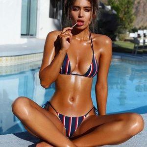 Other - Red White Navy Stripe Bikini